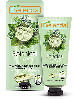 Cremă cu argilă verde pentru față - Bielenda Botanical Clays Vegan Day Night Cream Green Clay