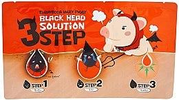 Parfumuri și produse cosmetice Set din 3 benzi și 3 pași pentru înlăturarea punctelor negre - Elizavecca Milky Piggy Black Head Solution 3 Step