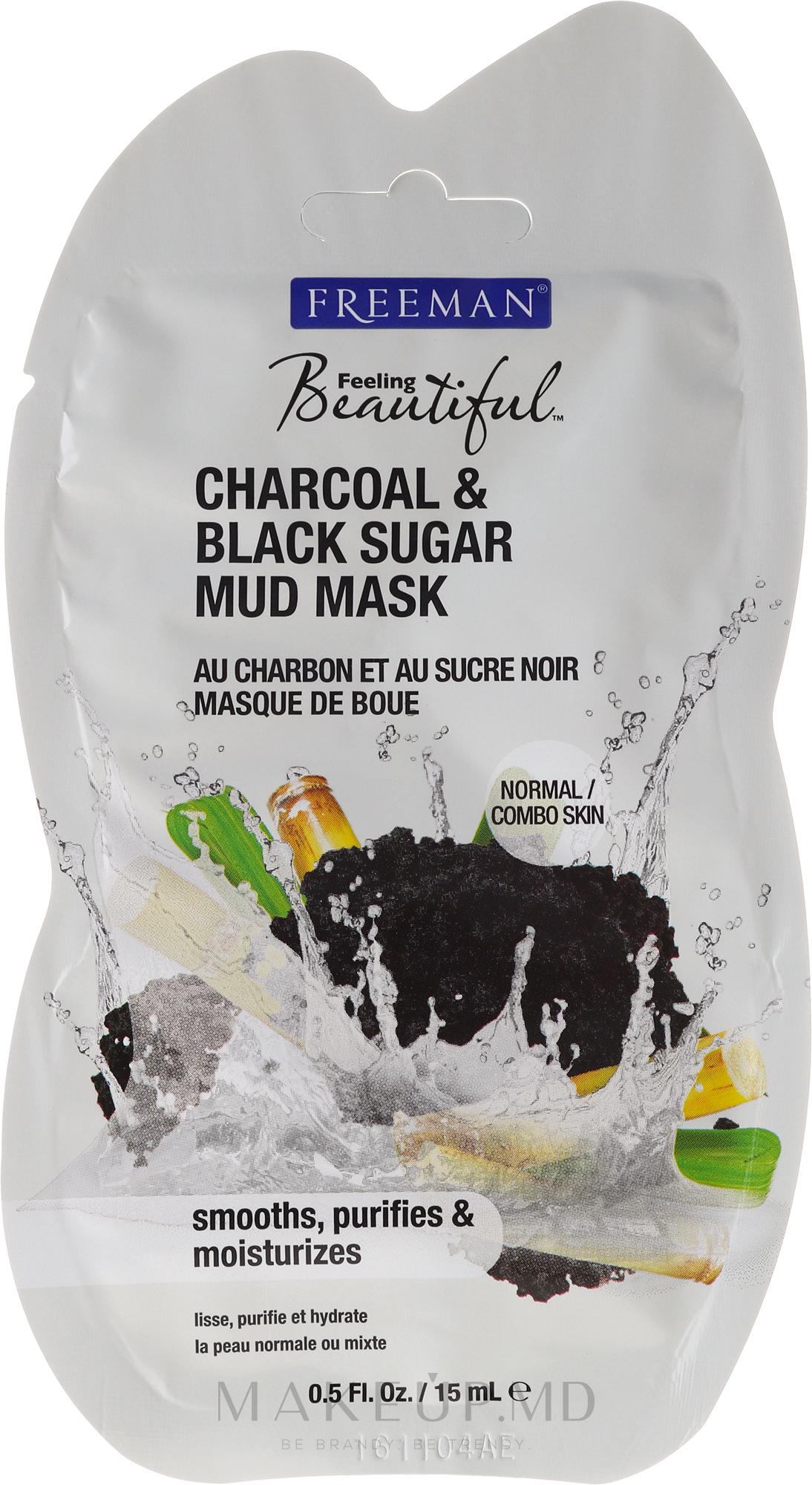 """Mască de față cu nămol """"Cărbune și zahăr negru"""" - Freeman Feeling Beautiful Charcoal & Black Sugar Mud Mask (miniatură) — Imagine 15 ml"""