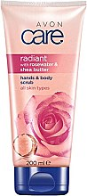 Parfumuri și produse cosmetice Scrub cu apă de trandafir și unt de shea pentru corp - Avon Care Hands & Body Scrub