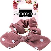 Parfumuri și produse cosmetice Elastic de păr, 417611, roz închis cu buline - Glamour
