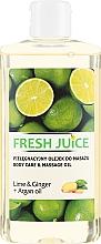 """Parfumuri și produse cosmetice Ulei pentru îngrijire și masaj """"Lime și ghimbir + Ulei de argan"""" - Fresh Juice Energy Lime&Ginger+Argan Oil"""