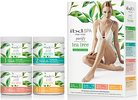 Set de îngrijire cu extract de arbore de ceai - IBD Spa Pro Pedi Tea Tree Purify Spa Intro Kit (soak/180g + scr/180g + mask/120ml + lot/124ml) — Imagine N1