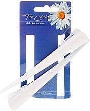 Parfumuri și produse cosmetice Clamă pentru păr, L, albă, 2 buc. - Top Choice