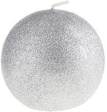 Parfumuri și produse cosmetice Lumânare decorativă, bilă, argintie, 8 cm - Artman Glamour