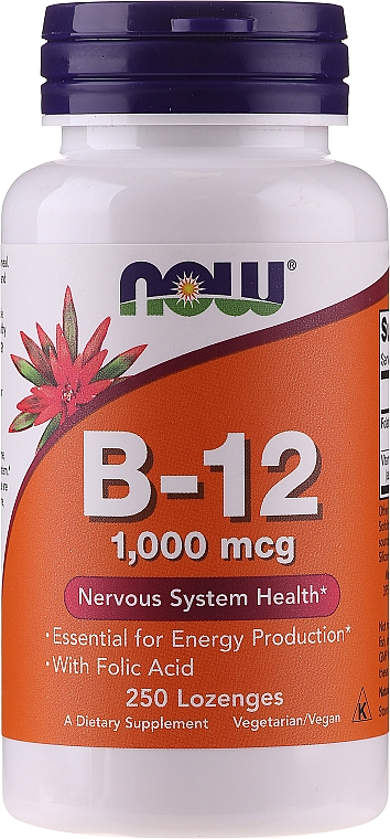 Metilcobalamina, vitamina Metil B-12, cu acid folic, 1000 mcg, pastile - Now Foods