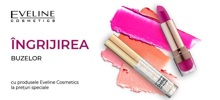 Reducere 5% la produsele promoționale pentru machiajul buzelor de la Eveline Cosmetics. Prețurile pe site sunt prezentate cu reduceri