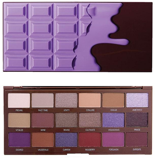 Paletă fard de pleoape, 18 nuanțe - I Heart Revolution Eyeshadow Palette Violet Chocolate