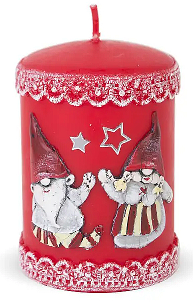 Lumânare decorativă, roșie, 7x10 cm - Artman Dwarves — Imagine N1