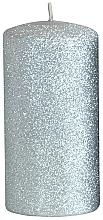 Parfumuri și produse cosmetice Lumânare decorativă, argintie, 7x14 cm - Artman Glamour