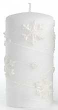Parfumuri și produse cosmetice Lumânare decorativă, albă, 7x14 cm - Artman Snowflake Application