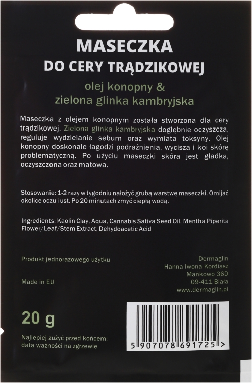 Mască de față - Dermaglin For Men Natural Product — Imagine N2