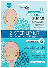 Parfumuri și produse cosmetice Маска-скраб для губ с кокосом - Derma V10 2 Step Lip Treatment Kit Coconut