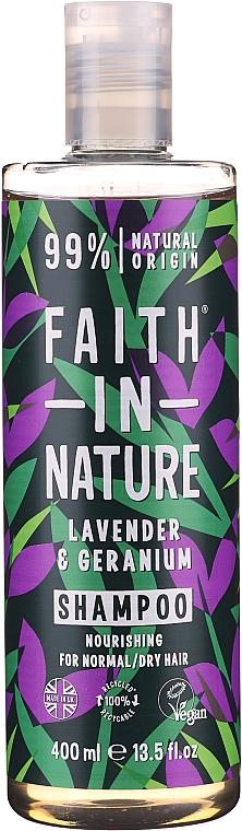 """Șampon pentru păr normal și uscat """"Lavandă și Geranium"""" - Faith In Nature Lavender & Geranium Shampoo"""