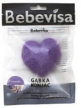 """Parfumuri și produse cosmetice Burete pentru curățarea feței, inimă """"Lavandă"""" - Bebevisa Konjac Sponge"""