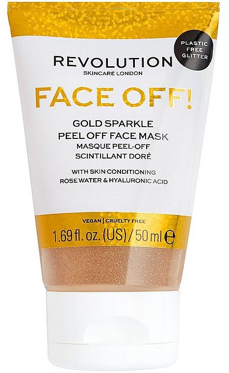 Mască-peeling pentru față - Revolution Skincare Face Off! Gold Glitter Face Off Mask — Imagine N1