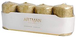 Parfumuri și produse cosmetice Set lumânări decorative, aurii, cilindrice - Artman Brokat Candles (candle/4pcs)