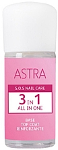 Духи, Парфюмерия, косметика Основа под лак - Astra Make-up Sos Nails Care 3 In 1 All In One