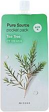Parfumuri și produse cosmetice Mască de noapte pentru față cu extract de arbore de ceai - Missha Pure Source Pocket Pack Tea Tree