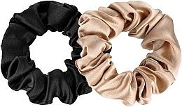 """Parfumuri și produse cosmetice Set de elastice din mătase naturală """"Midi"""" - Makeup Scrunchie Set Black Gold"""