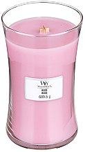 Parfumuri și produse cosmetice Lumânare aromată cu suport din sticlă - WoodWick Hourglass Candle Rose