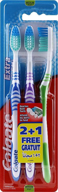 Зубная щетка, средняя, синяя + фиолетовая + зеленая - Colgate Extra Clean Medium — фото N1