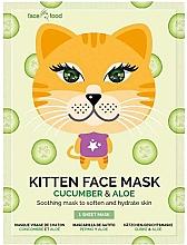 """Parfumuri și produse cosmetice Mască de țesut """"Pisicuță"""" cu extract de castravete și aloe pentru față  - 7th Heaven Face Food Kitten Face Mask Cucumber & Aloe"""