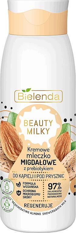 Lapte de baie și duș - Bielenda Beauty Milky Regenerating Almond Shower & Bath Milk
