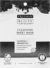 Parfumuri și produse cosmetice Тканевая очищающая маска для лица с активированным углем, пробиотиками и сывороткой - Freeman Beauty Infusion Cleansing Clay Mask Charcoal & Probiotics