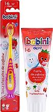Parfumuri și produse cosmetice Set pastă+periuță de dinți, galben-violet, 1-6 ani - Bobini (toothbrush/1pc + toothpaste/75ml)