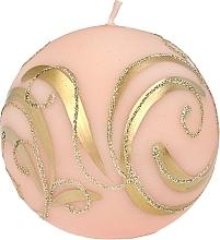 Parfumuri și produse cosmetice Lumânare decorativă, roz, bej cu decorații, 10 cm - Artman Christmas Ornament