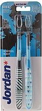 Parfumuri și produse cosmetice Periuțe de dinți, Individual Clean, medie, neagră+albastră - Jordan Individual Reach Medium