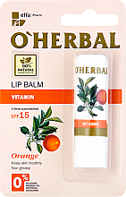 Parfumuri și produse cosmetice Balsam cu vitamine pentru buze - O'Herbal Vitamin Lip Balm Wwith Orange Oil SPF15