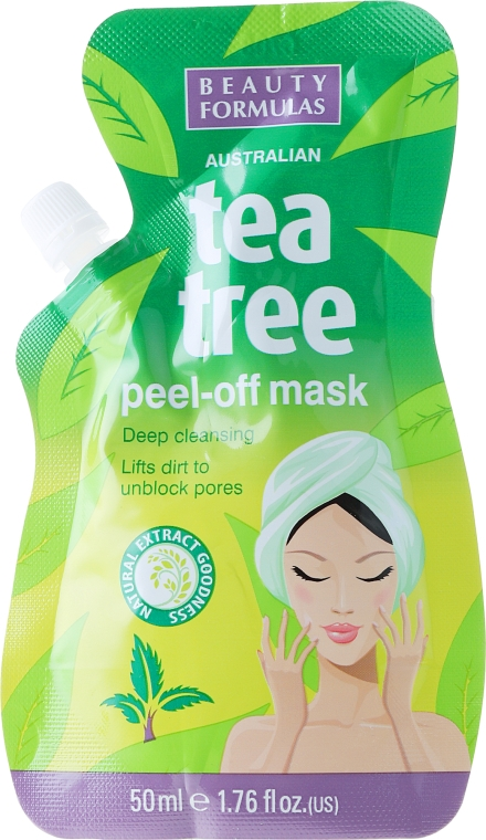 Mască-peeling pentru față - Beauty Formulas Tea Tree Peel-Off Mask — Imagine N1