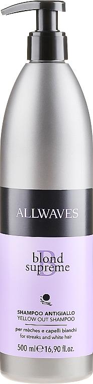Șampon pentru neutralizarea nuanțelor de galben - Allwaves Blond Supreme Yellow Out Shampoo