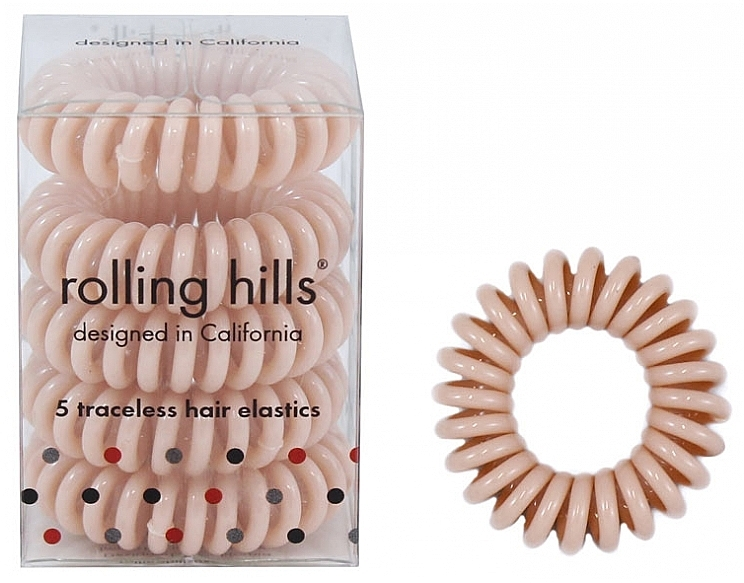 Elastic- brățară pentru păr, bej - Rolling Hills 5 Traceless Hair Rings Beige
