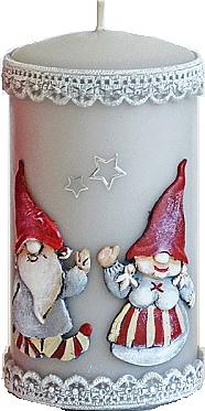 Lumânare decorativă, gri, 7x18cm - Artman Dwarves — Imagine N1