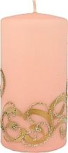Parfumuri și produse cosmetice Lumânare decorativă, roz cu decorații, 7x14 cm - Artman Christmas Ornament