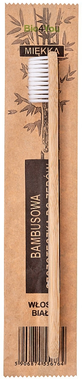 Periuță din bambus pentru dinți, moale, albă - Bio4You