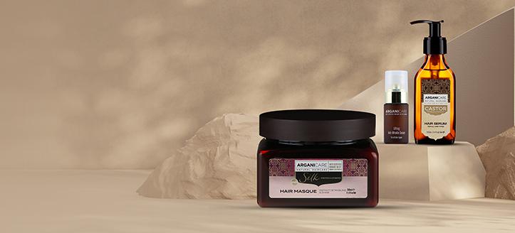 La achiziționarea a două produse Arganicare, primești cadou o mască cu proteine din mătase pentru păr