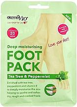 Parfumuri și produse cosmetice Șosete hidratante pentru picioare - Derma V10  Foot Pack Tea Tree&Peppermint Deep Vegan Moisturising Exfoliating