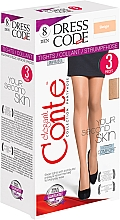 """Parfumuri și produse cosmetice Colanți """"Dress Code"""" 8 Den, 3 unități, beige - Conte"""