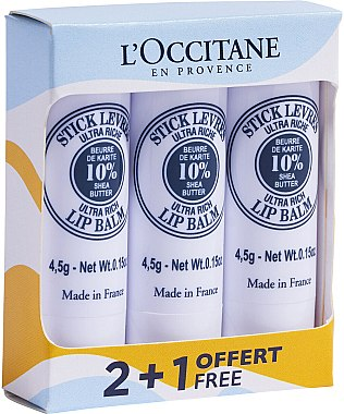 Set - L'Occitane Ultra Rich Stick Lip Balm Trio — Imagine N1
