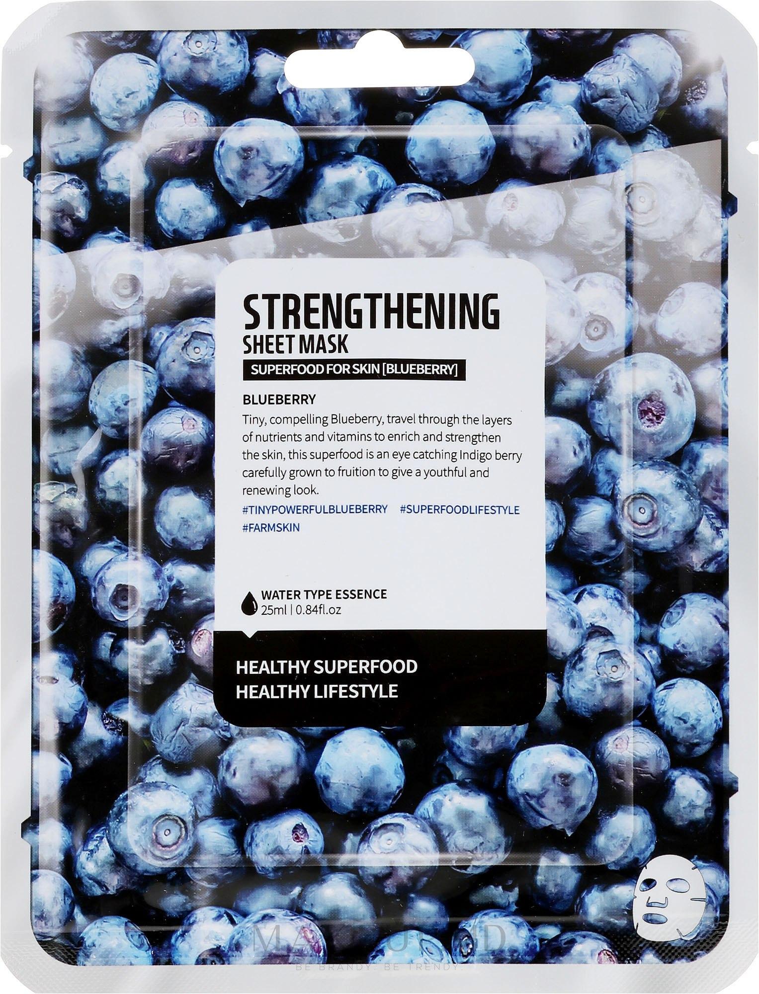 """Mască de țesut pentru față """"""""Afine"""" - Superfood For Skin Strengthening Sheet Mask — Imagine 25 ml"""