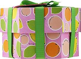 Parfumuri și produse cosmetice Set - Bomb Cosmetics Fruit Basket Hexagonal Gift Box (b/bomb/2pcs + soap/2pcs + b/scr/120ml + sh/gel/120ml)