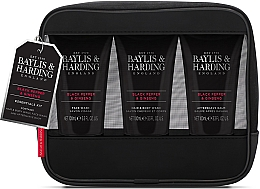 Parfumuri și produse cosmetice Set - Baylis & Harding Signature Men's Black Pepper & Ginseng Toiletry Bag (hair/body/wash/100ml+a/sh/balm/100ml+face/wash/100ml+acc)