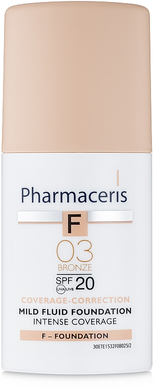 Fond de ten delicat SPF 20 - Pharmaceris F Intense Coverage Mild Fluid Foundation SPF20