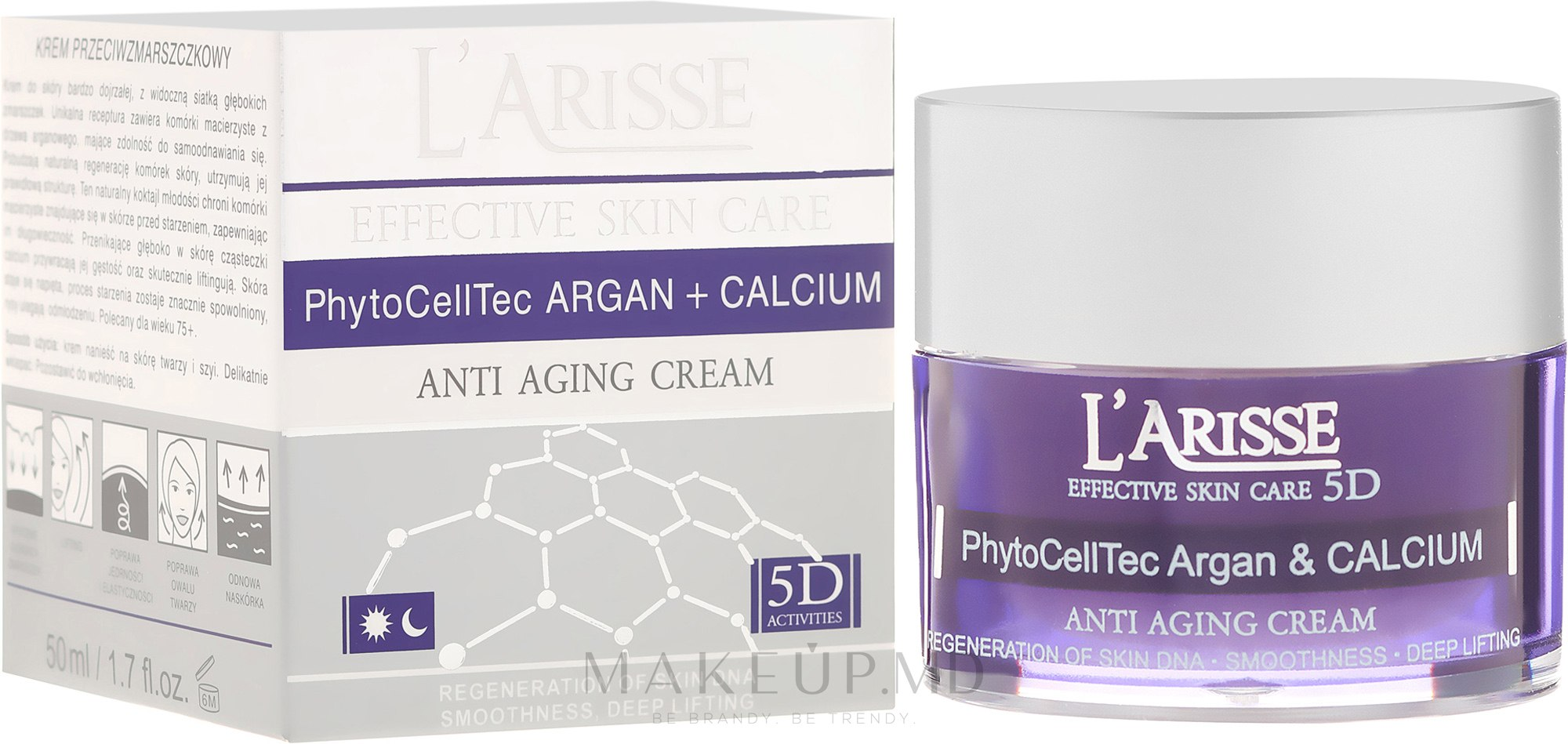 Cremă antirid cu celule stem de argan și BIO calciu 75+ - Ava Laboratorium L'Arisse 5D Anti-Wrinkle Cream Stem PhytoCellTech Argan + Calcium — Imagine 50 ml