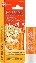 """Parfumuri și produse cosmetice Balsam de buze """"Miere și portocală"""" - Eveline Cosmetics Lip Therapy Nourishing Lip Balm Honey And Orange"""