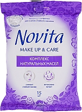 """Parfumuri și produse cosmetice Șervețele umede """"Make up"""" cu un complex de uleiuri naturale - Novita Delicate"""